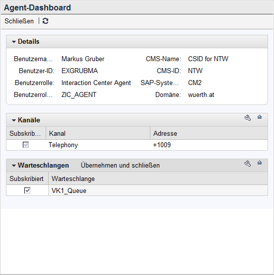 SAP interface for Cisco CUCM CallManager