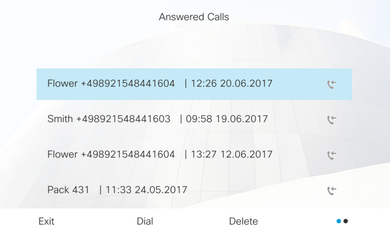 Detail view call from call list