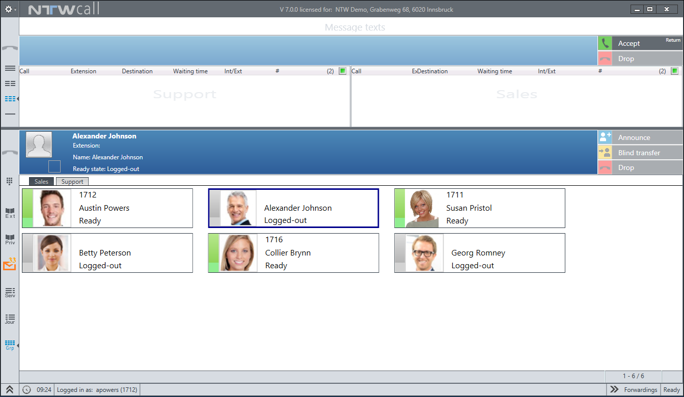 Contact center interface with group affiliation and member status display