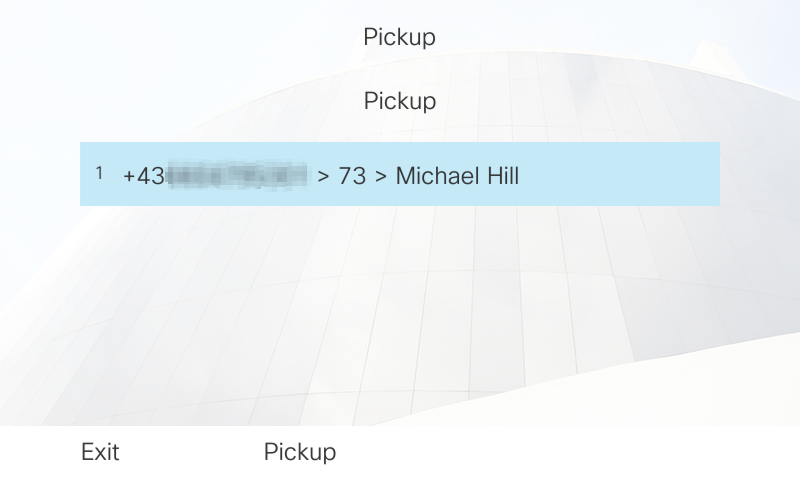 Pick up pop-up: pick up call directly on the phone