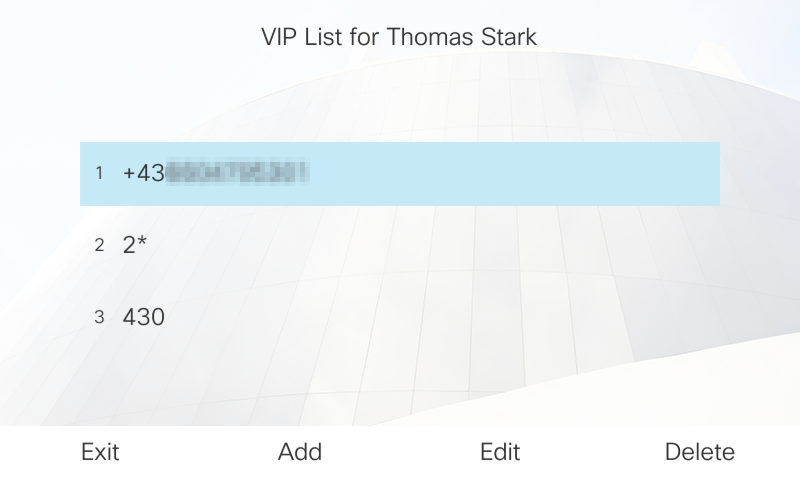 VIP list functionality on the phone - incl. VIP number range