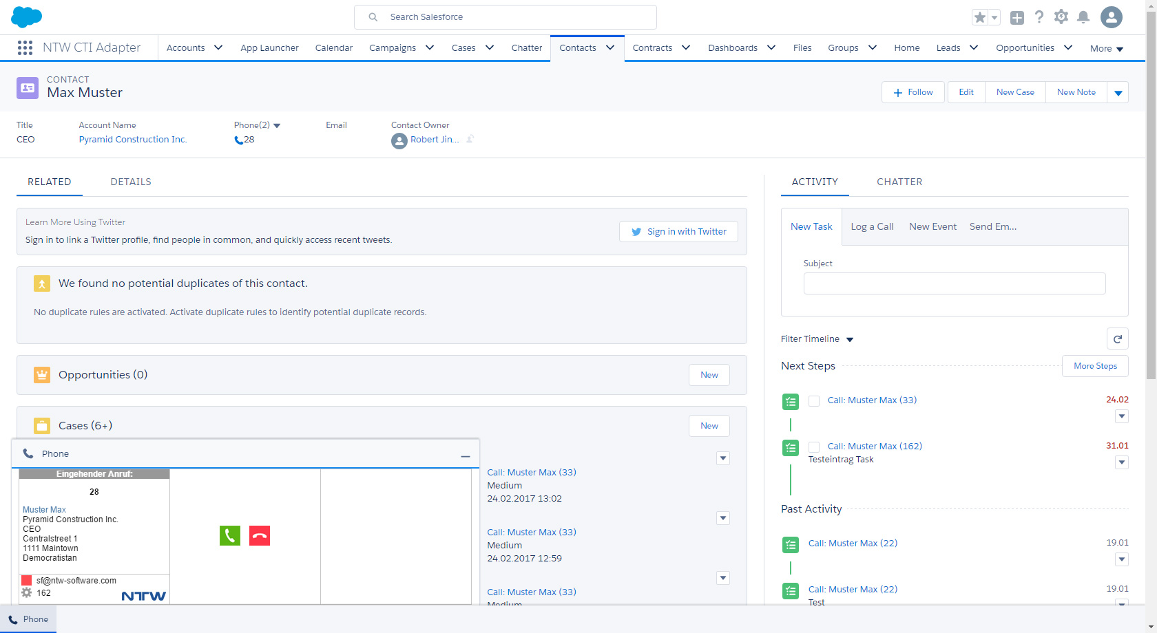 Integration of the CTI client into the Salesforce interface: incoming call