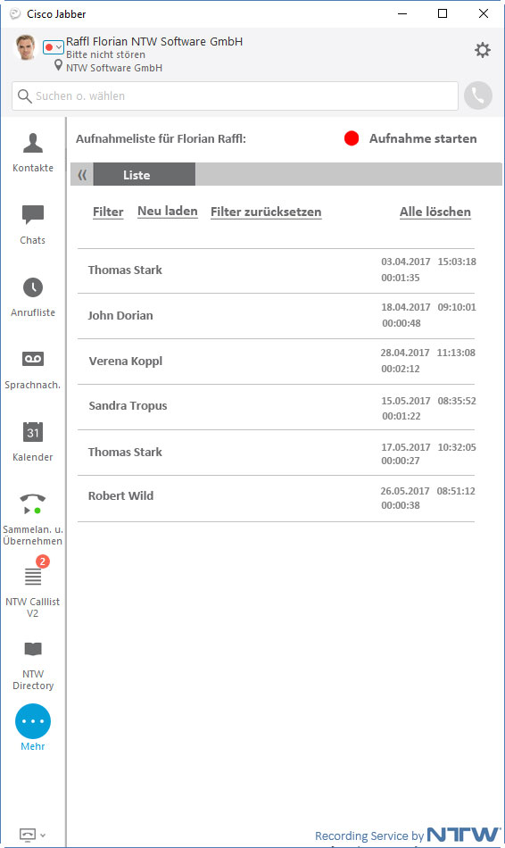 Voice recording in Cisco Jabber with start/stop-button and overview list