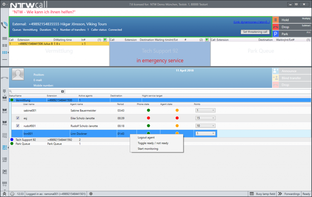 Contact center user interface: supervisor display